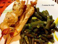 Шашлычки из куриной грудки с зеленой фасолью
